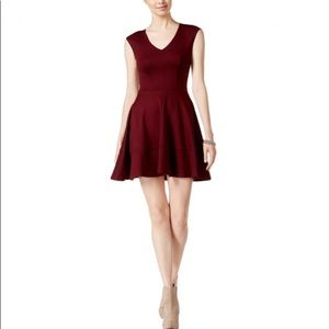 Bar III Fit and Flare Exposed Zipper Wine Dress Sm